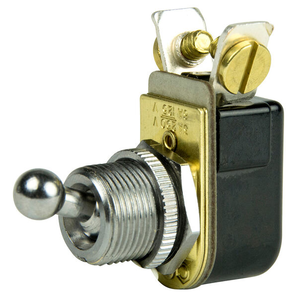 """BEP SPST Chrome Plated, 3/8"""" Ball Toggle Switch, On/Off"""