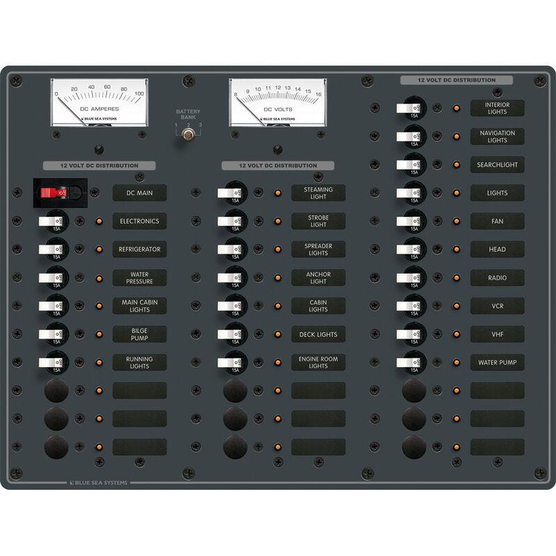 Blue Sea 12/24V DC Main + 35 Position Circuit Breaker Panel w/Digital Multimeter image number 1