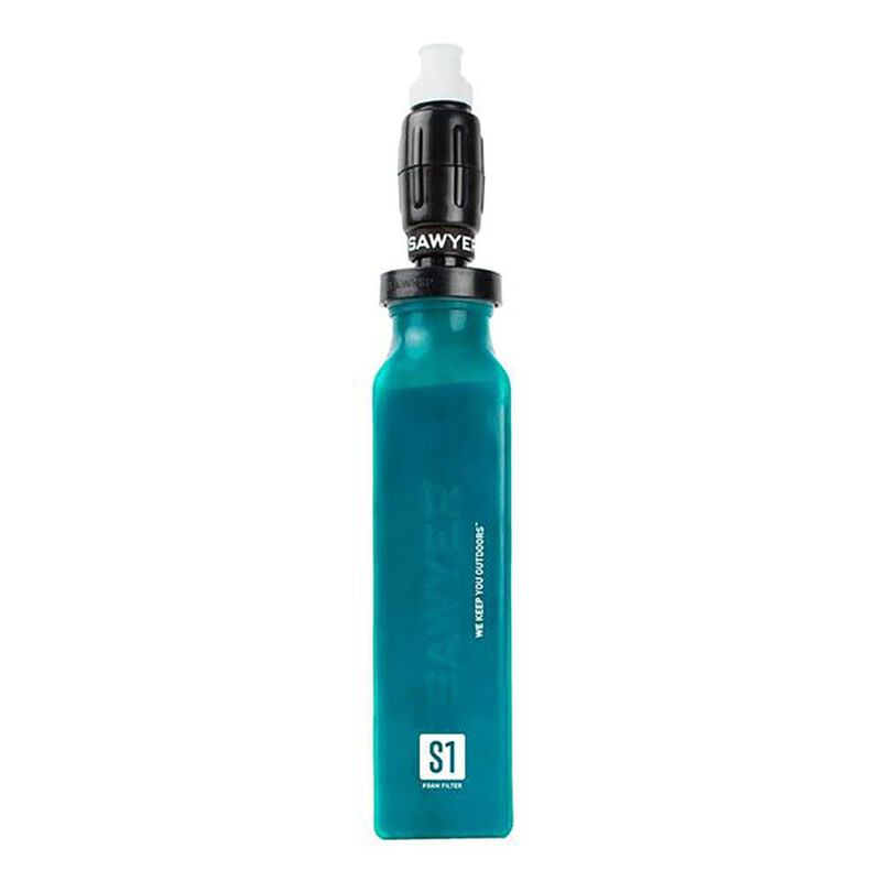 Sawyer Foam Water Filter and 20-oz. Green Bottle image number 1