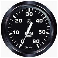 "Faria 4"" Euro Black Series Tachometer, 6,000 RPM Gas Inboard & Inboard/Outboard"