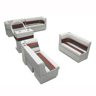 Deluxe Pontoon Furniture w/Toe Kick Base, Complete Boat Package A, Gray/Red/Char