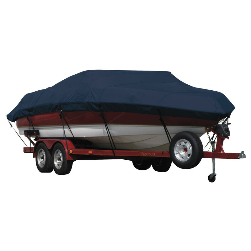 Exact Fit Covermate Sunbrella Boat Cover for Tracker Party Barge 21 Signature Party Barge 21 Signature W/Bimini Laid Aft O/B image number 11