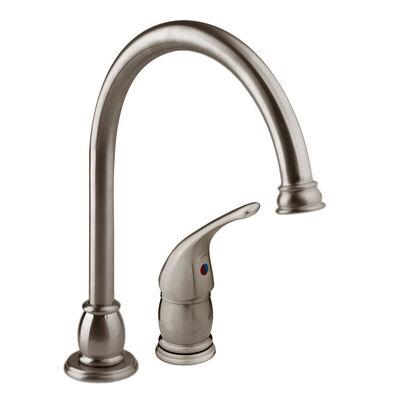 Dura Faucet Goose-Neck Pedestal RV Kitchen Faucet with Side Sprayer, Brushed Satin Nickel