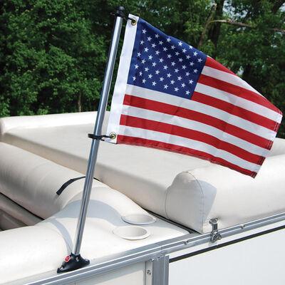 "Pontoon Flag Pole Socket with Flag, with 12""x18"" US Flag"