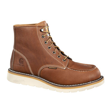 Carhartt Men's 6'' Waterproof Steel Toe Tan Leather Wedge Work Boot