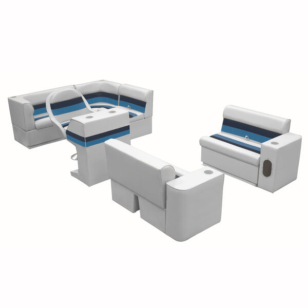 Deluxe Pontoon Furniture with Toe Kick Base, Group 1 Package, Gray/Navy/Blue