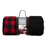 """Lazy Mondays Reversible Sherpa 10-lb. Weighted Blanket, 50"""" x 60"""", Buffalo Red Plaid"""