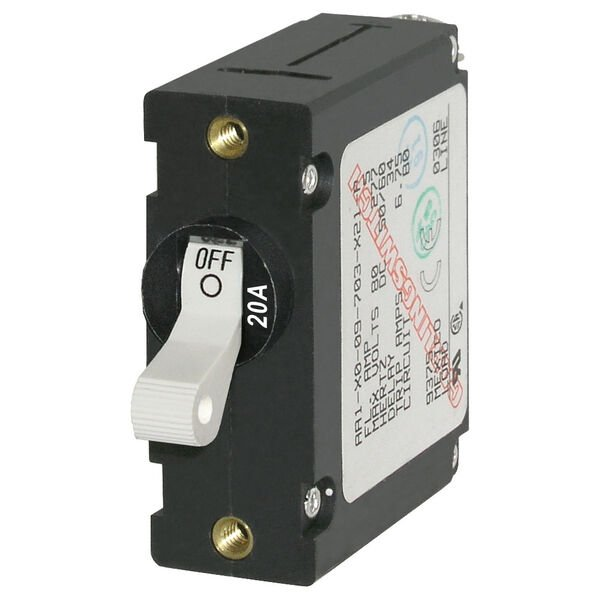 Blue Sea Systems A-Series Toggle Switch Circuit Breaker, Single Pole 20 Amp