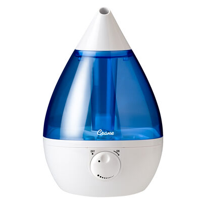 Crane Drop Ultrasonic Cool Mist Humidifier, Blue and White