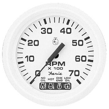 "Faria 4"" Dress White Series Tach/System Check, 7,000 RPM"
