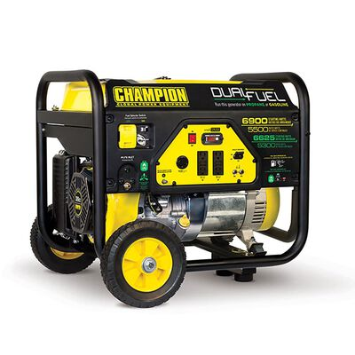 Champion 5500 Watt Dual Fuel RV Ready Portable Generator with Wheel Kit
