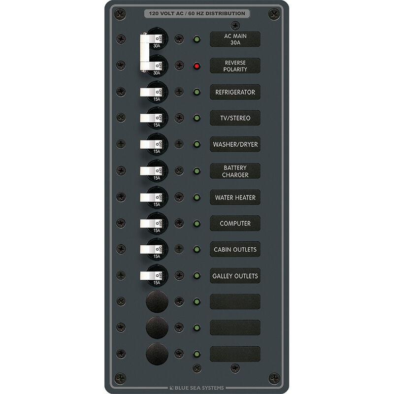 Blue Sea 120V AC Main + 11 Position Circuit Breaker Panel image number 1
