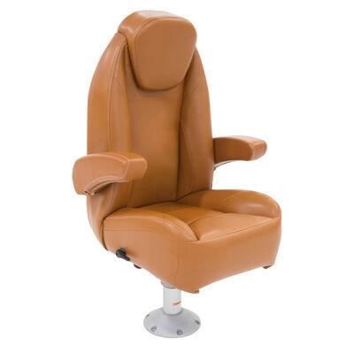 High Back Recliner Premium Pontoon Helm Seat - Cognac