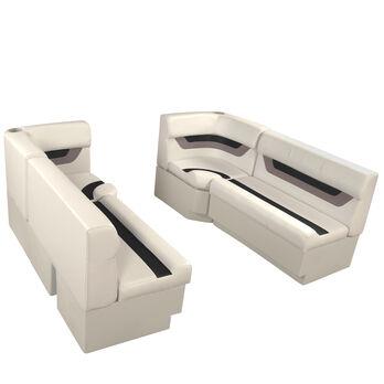 """Designer Pontoon Furniture - 61"""" Front Seat Package, Platinum/Black/Mocha"""