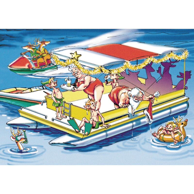Personalized Santa's Pontoon Party Christmas Cards image number 1