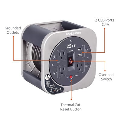 Link2Home Cord Reel 25' Extension Cord with 3 Power Outlets and 2 USB Ports, Gray