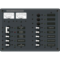 Blue Sea Systems Panel, AC Main + 11 Positions, Micro Voltmeter and Ammeter