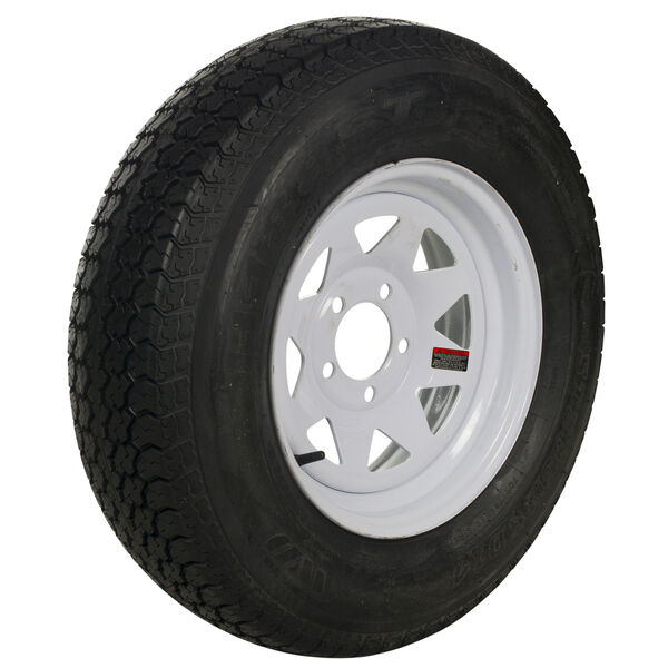 Tredit H188 4.80 x 12 Bias Trailer Tire, 5-Lug Spoke White Rim