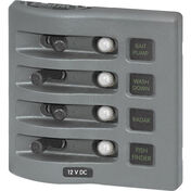 Blue Sea WeatherDeck Waterproof Circuit Breaker Panel - 4 Positions, gray