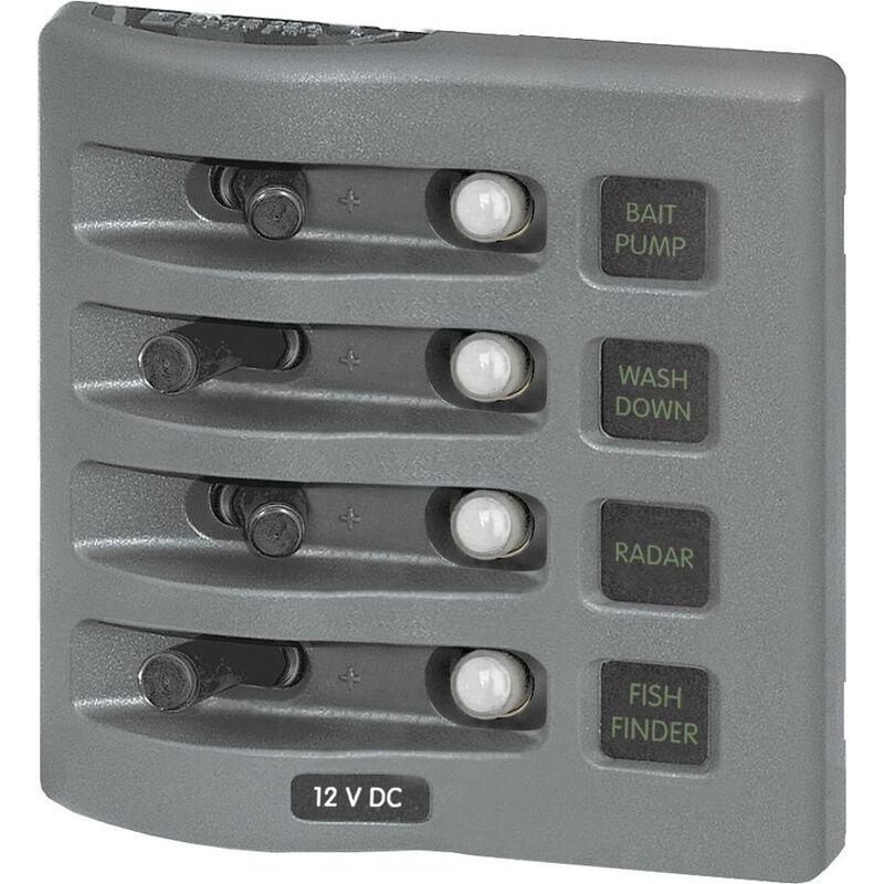 Blue Sea WeatherDeck Waterproof Circuit Breaker Panel - 4 Positions, gray image number 1