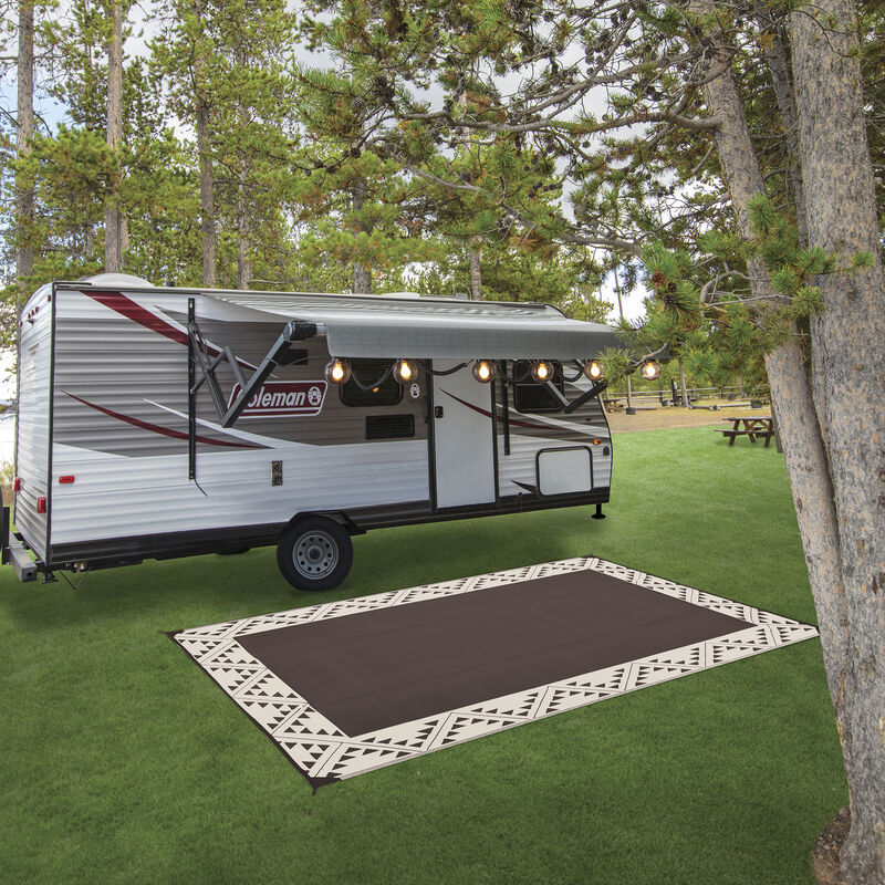 Reversible RV Patio Mat with Aztec Border Design image number 21