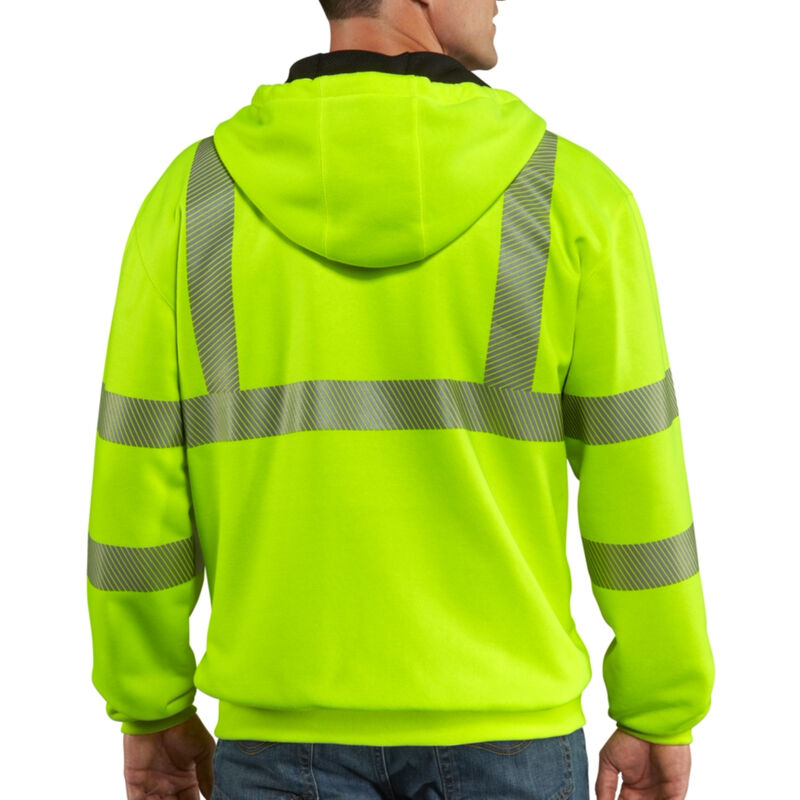 Carhartt Men's High-Visibility Zip-Front Class 3 Thermal-Lined Sweatshirt image number 3