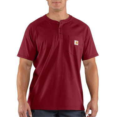 Carhartt Men's Force Cotton Delmont Short-Sleeve Henley