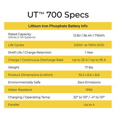 LION Energy Safari UT 700 12V 56Ah LiFePO4 Battery