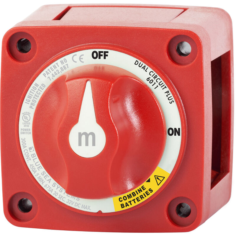 Blue Sea m-Series Mini Dual Circuit Plus Battery Switch - Red image number 1