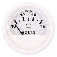 """Faria 2"""" Dress White Series Voltmeter, 10-16V DC"""