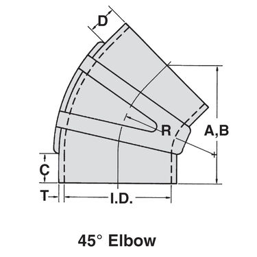 "Sierra 3-1/2"" EPDM 45° Elbow With Clamps"