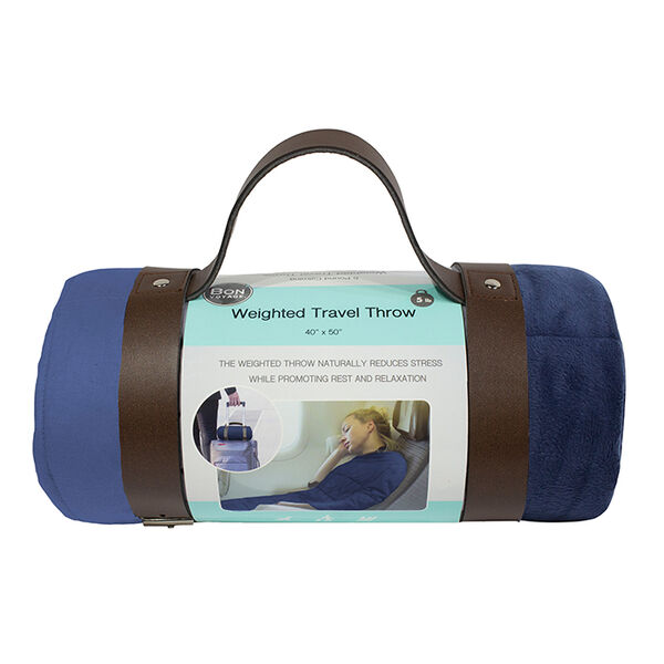 Bon Voyage 5-lb. Reversible Weighted Travel Throw, Blue