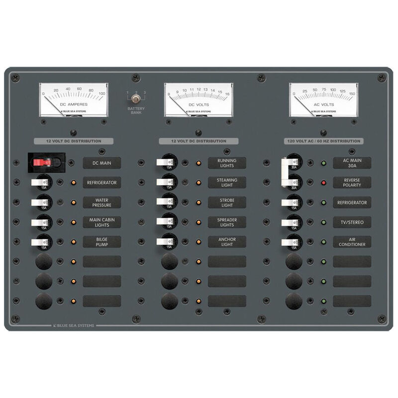 Blue Sea AC Main/DC Main Toggle Circuit Breaker Panel, Model 8184 image number 1