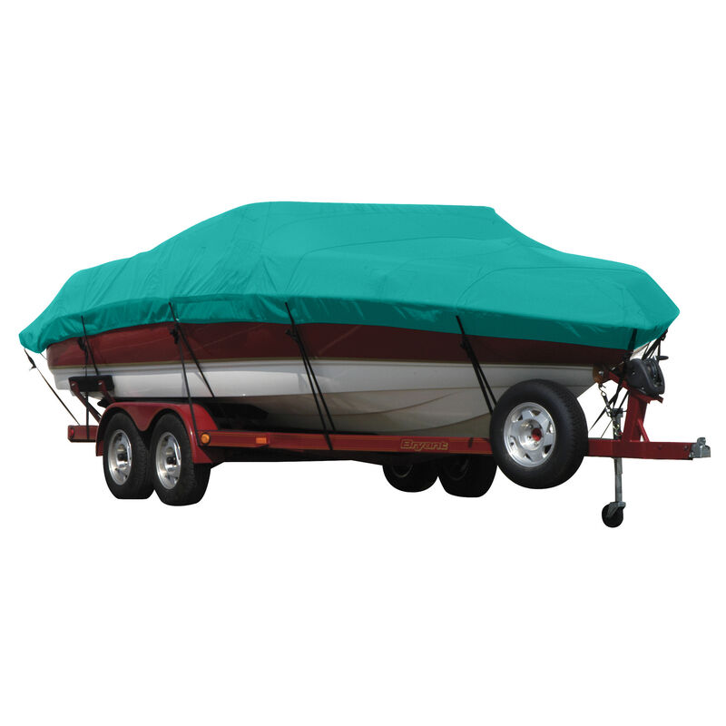 Exact Fit Covermate Sunbrella Boat Cover for Tracker Party Barge 21 Signature Party Barge 21 Signature W/Bimini Laid Aft O/B image number 14
