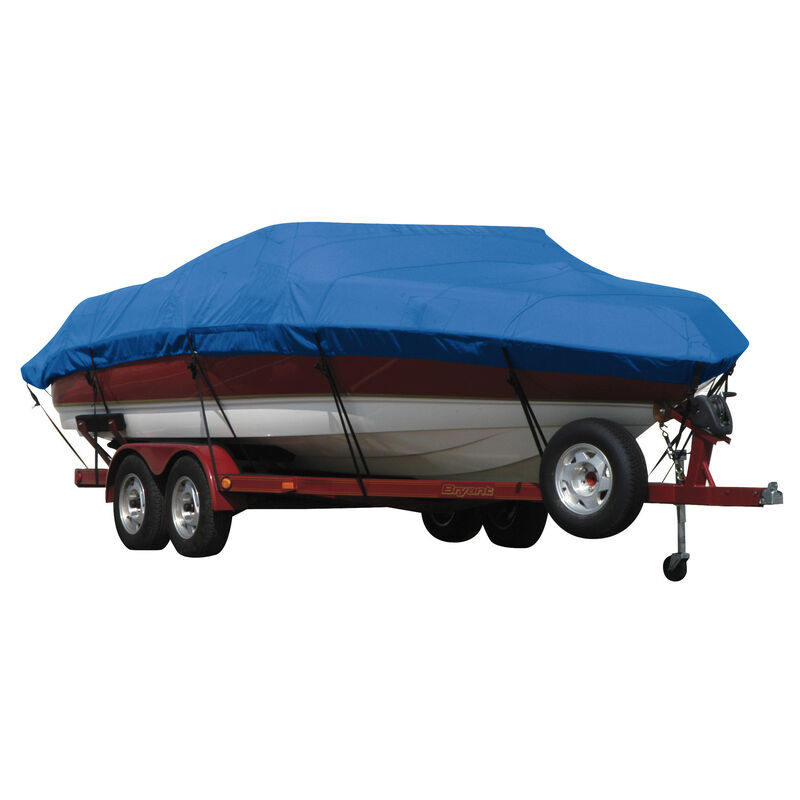 Exact Fit Covermate Sunbrella Boat Cover for Tracker Party Barge 21 Signature Party Barge 21 Signature W/Bimini Laid Aft O/B image number 13