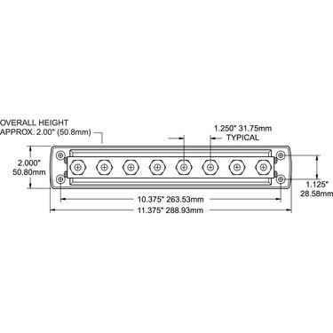 "Blue Sea PowerBar 600-Amp Common Busbar, (8) 3/8""-16 Studs"