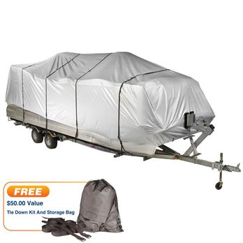 """Covermate HD 600 Pontoon Boat Mooring And Storage Cover, 21'-24'L, 102"""" Max Beam"""