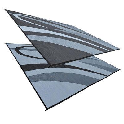 Reversible Graphic Design RV Patio Mat, 8' x 16', Black/Silver