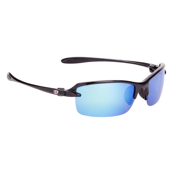 Strike King SK Plus Sabine Sunglasses - Shiny Black Frame, Blue Mirror Lens