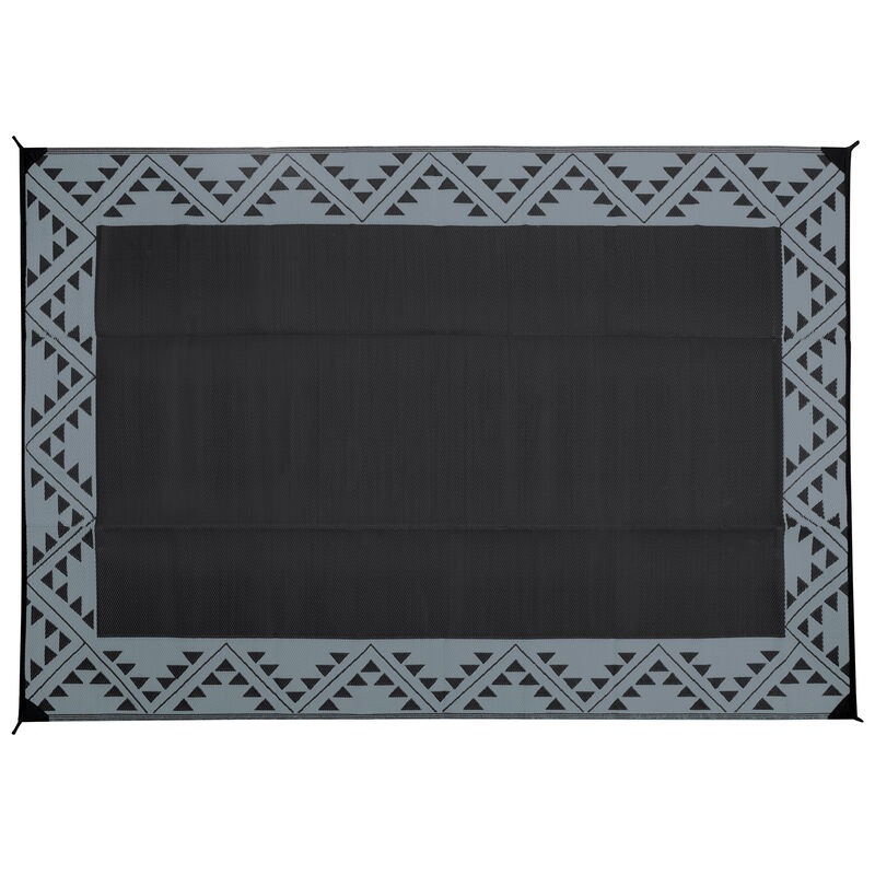 Reversible RV Patio Mat with Aztec Border Design image number 1