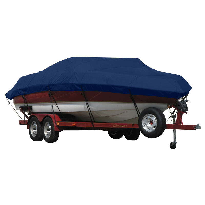 Exact Fit Covermate Sunbrella Boat Cover for Tracker Party Barge 21 Signature Party Barge 21 Signature W/Bimini Laid Aft O/B image number 9