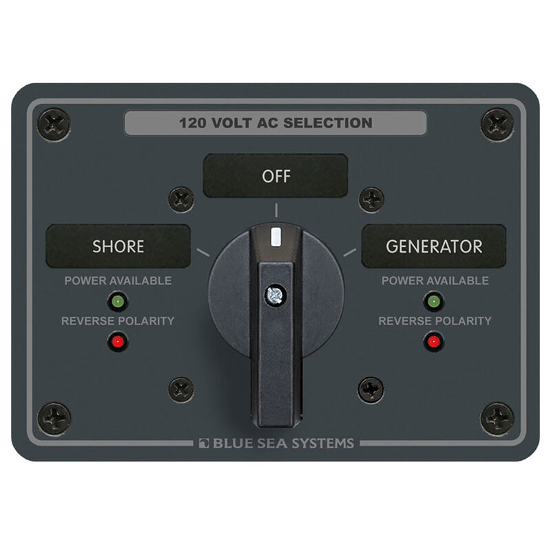 Blue Sea AC Rotary Switch Panel: 120V, 65A, 2 Sources, 2 Poles, 2 Positions+OFF image number 1