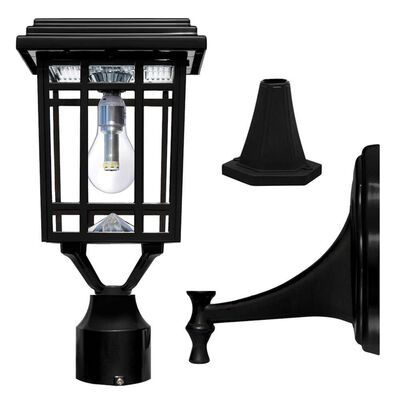 Prairie Bulb Solar Light with GS Solar LED Light Bulb - Wall/Pier/ 3 In. Fitter Mounts, Black Finish