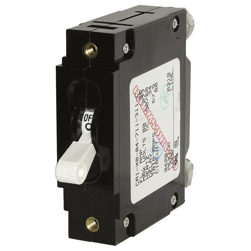 Blue Sea Circuit Breaker C-Series Toggle Switch, Single Pole, 80A, White image number 1