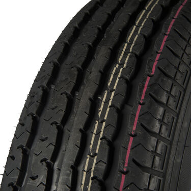 Trailer King II ST225/75 R 15 Radial Trailer Tire, 6-Lug Aluminum T07 Black Rim