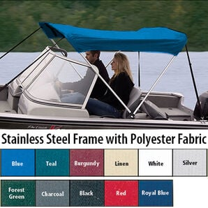 Shademate Polyester Stainless 2-Bow Bimini Top 5'6''L x 42''H 73''-78'' Wide