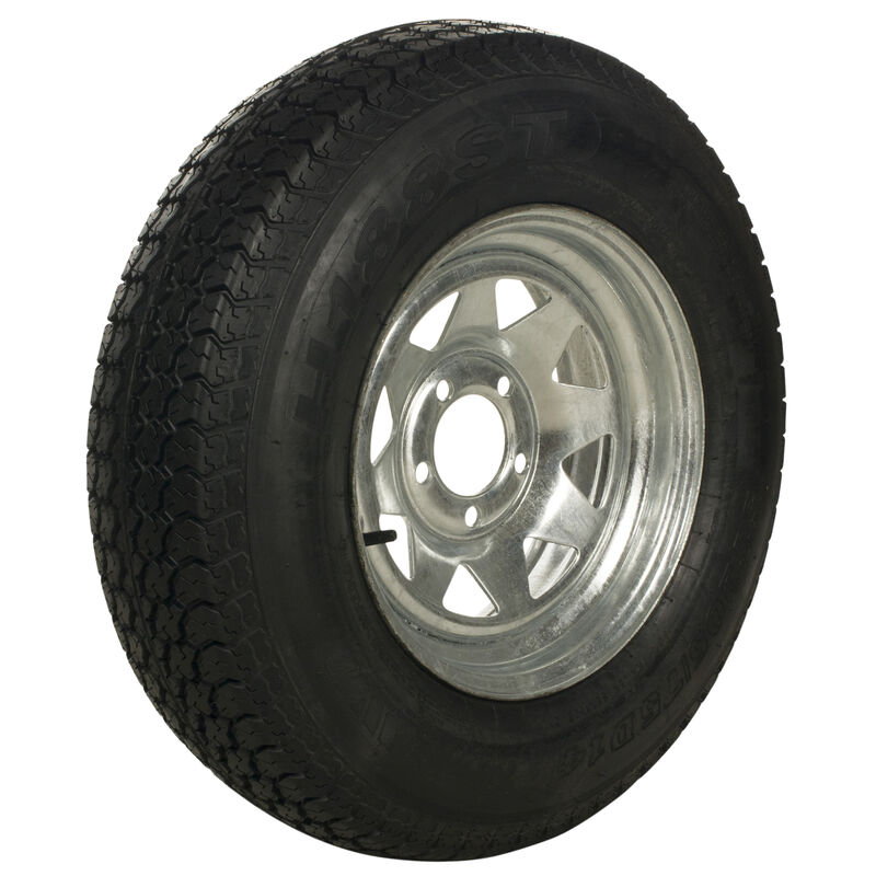 Tredit H188 205/75 x 15 Bias Trailer Tire, 5-Lug Spoke Galvanized Rim image number 1