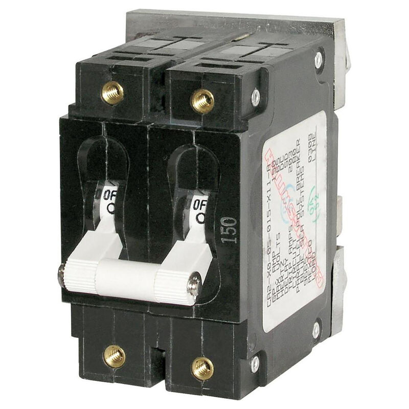 Blue Sea DC Circuit Breaker C-Series Toggle Switch, Double Pole, 200A image number 1