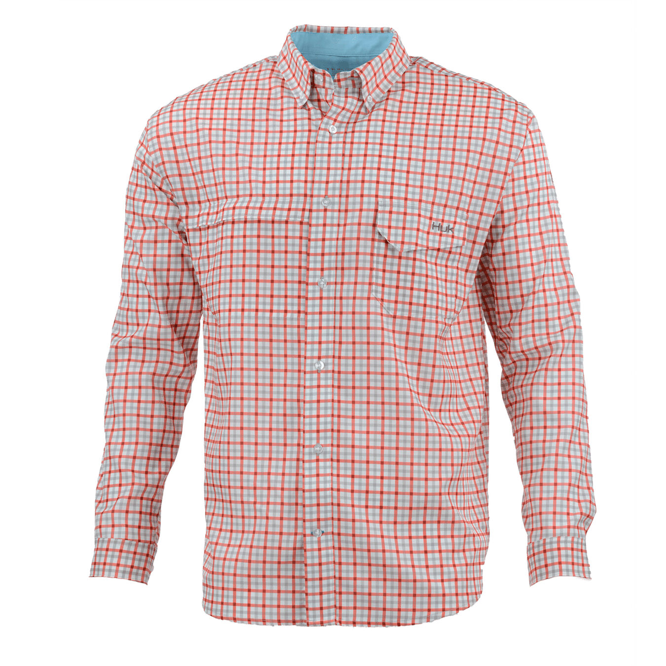 HUK Mens Button Down Casual Tide Point Woven Plaid Long Sleeve Shirt