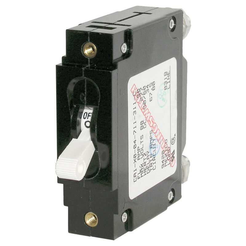 Blue Sea Circuit Breaker C-Series Toggle Switch, Single Pole, 60A, White image number 1